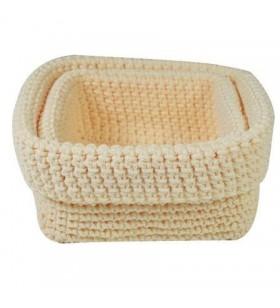 Set 2 Cestas de Crochet Jocca 4675C/ Crema 4675C