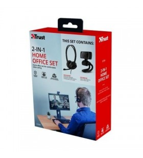 Pack 2 en 1 Trust Doba Home Office Set Webcam + Auriculares con Micrófono 24036