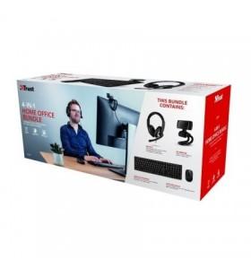 Pack 4 en 1 Trust Qoby Home Office Set Webcam + Teclado Inalámbrico + Ratón Inalámbrico + Auriculares con Micrófono 24042